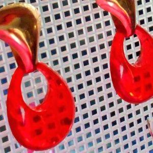 Red Dangle Earrings Pierced Ears vintage